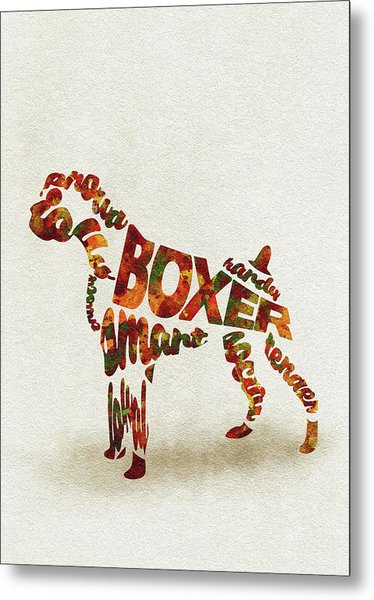 German Boxer Watercolor Painting / Typographic Art Metal Print