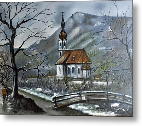 German Church At Ramsau  Metal Print