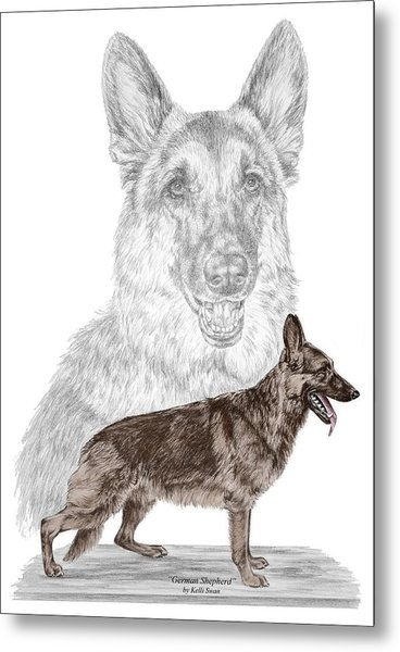 German Shepherd Art Print - Color Tinted Metal Print