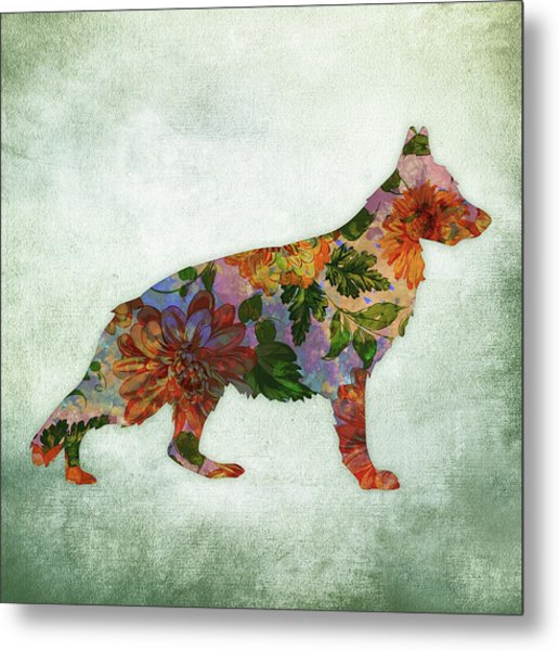 German Shepherd Floral On Green Metal Print