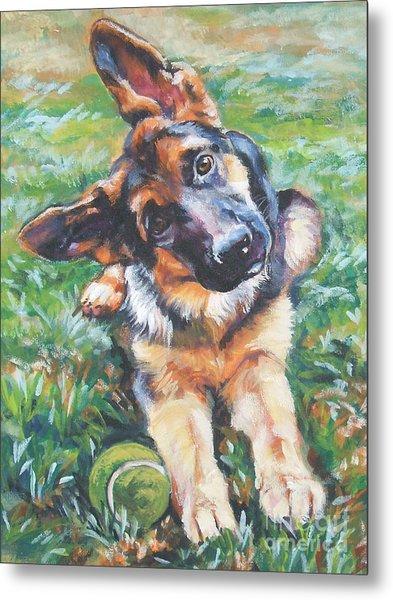 German Shepherd Pup With Ball Metal Print