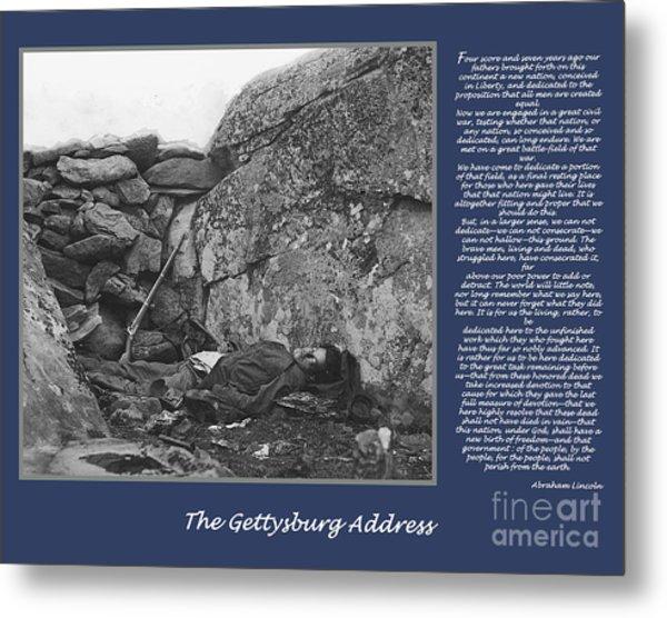 Gettysburg Address Civil War Devils Den Metal Print by Randy Steele