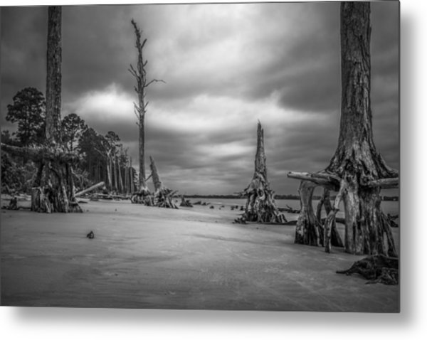 Ghosts Of Giants Above The Sand - Bw Metal Print