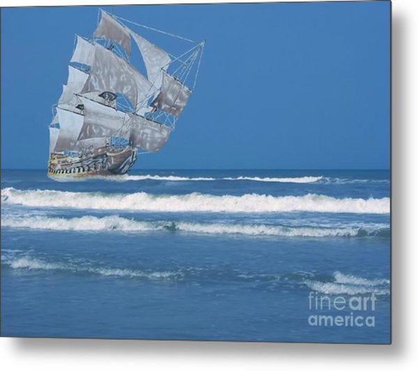 Ghost Ship On The Treasure Coast Metal Print