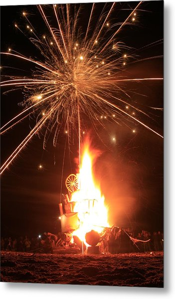 Giant Birthday Cake With Fireworks On Top Metal Print by Dave Brooksher