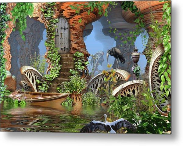 Giant Mushroom Forest Metal Print