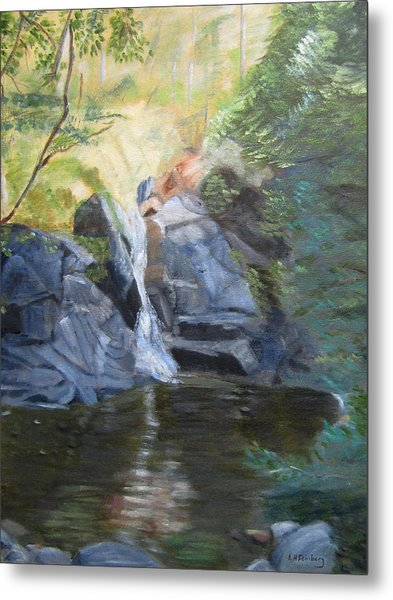 Metal Print featuring the painting Gibbs Falls by Linda Feinberg