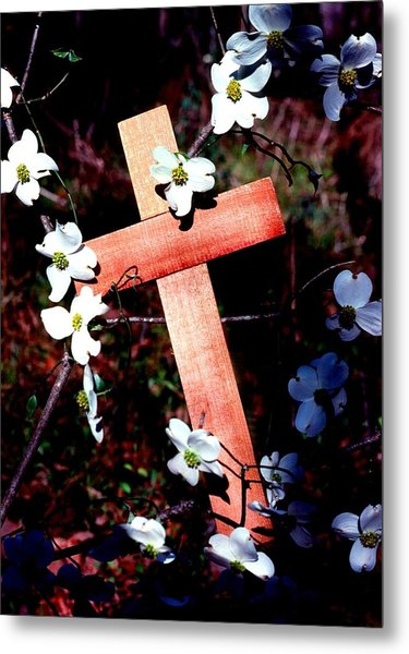 Gift Cross And Dogwood Metal Print