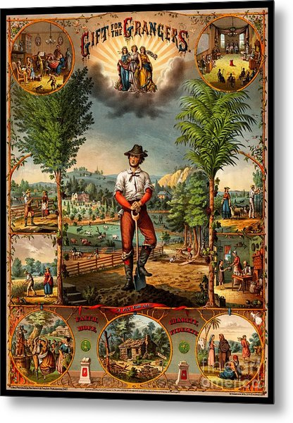 Gift For The Grangers 1873 Victoiran National Grange Agriculture Promotional Art Metal Print