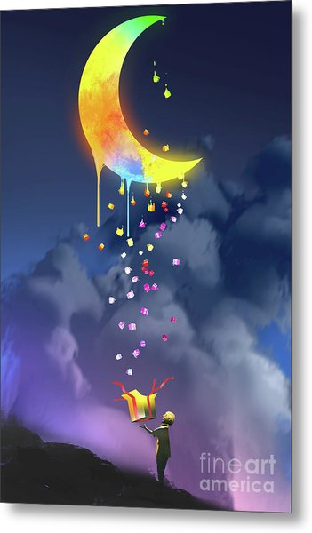 Metal Print featuring the painting Gifts From The Moon by Tithi Luadthong