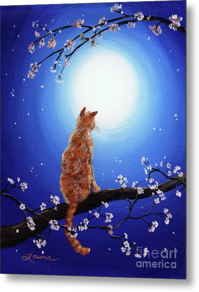 Ginger Cat In Blue Moonlight Metal Print