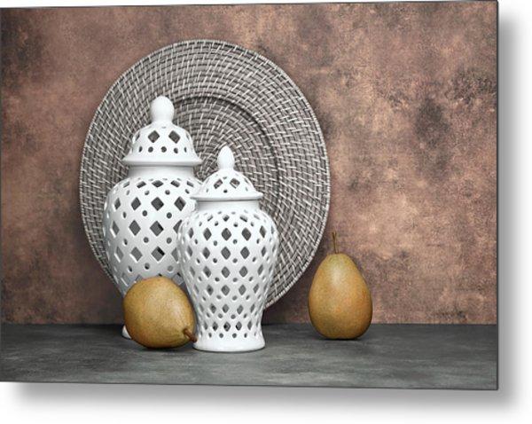 Ginger Jar With Pears II Metal Print