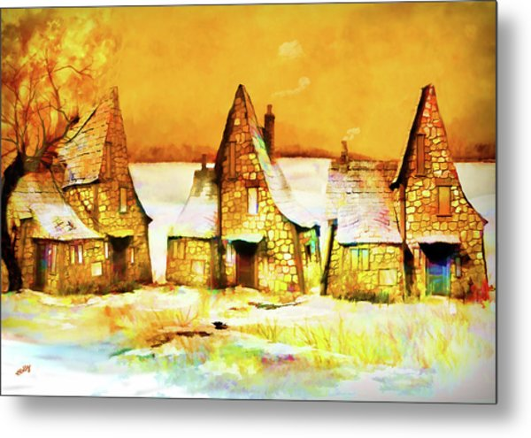 Gingerbread Cottages Metal Print
