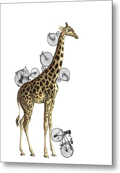 Giraffe And Bicycles Metal Print
