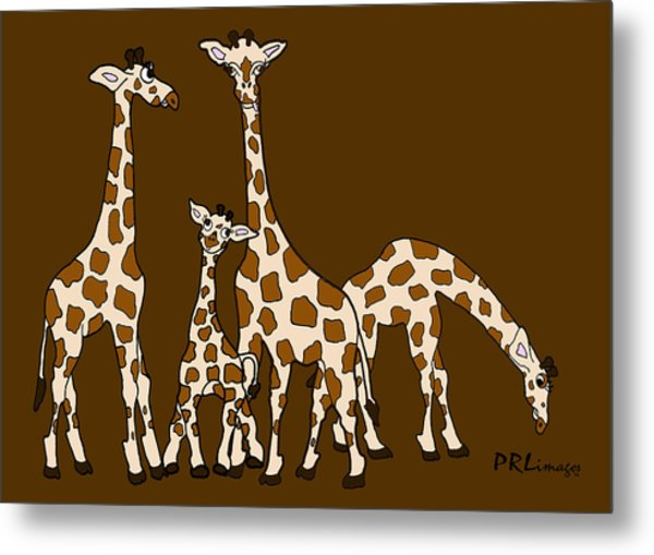 Giraffe Family Portrait Brown Background Metal Print