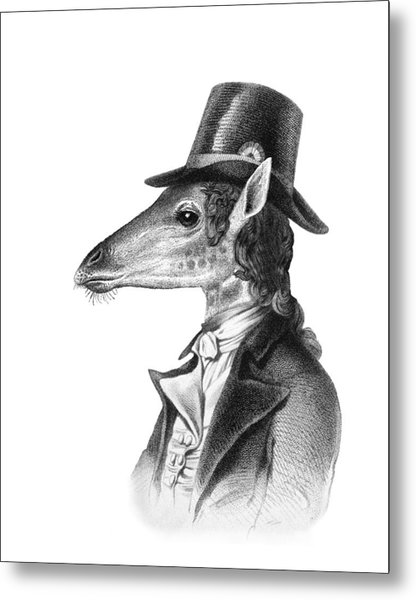 Giraffe In A Smoking Jacket With Top Hat Metal Print