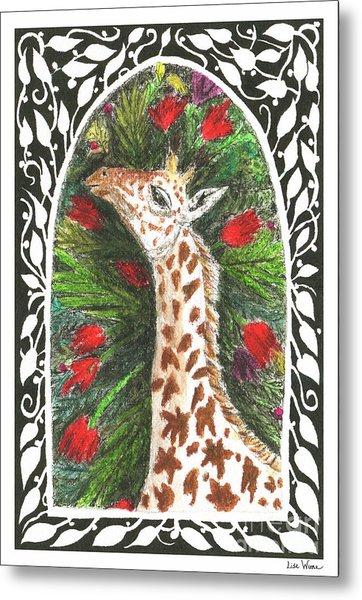 Giraffe In Archway Metal Print