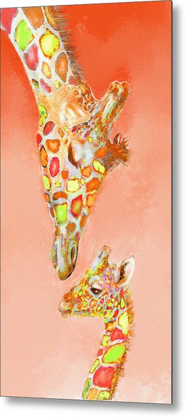 Giraffe Love- Orange Metal Print