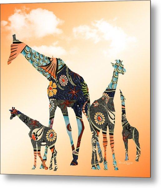 Giraffe Stroll Metal Print