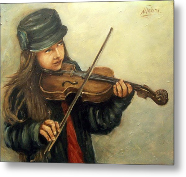 Girl And Her Violin Metal Print