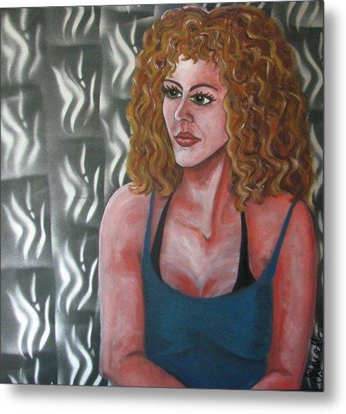 Girl And Tiles Metal Print