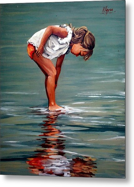 Girl At Shore  Metal Print