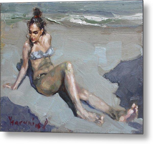 Girl At The Beach  Metal Print