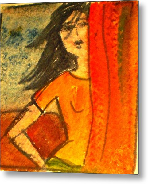 Girl Behind The Curtain Metal Print by Maria Rosaria DAlessio