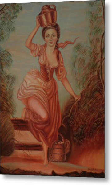 Girl Carrying Water Metal Print by Margit Armbrust