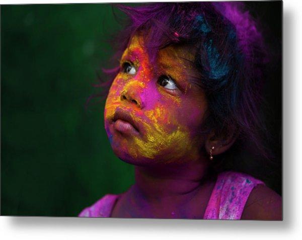 Girl During Holi Festival Metal Print