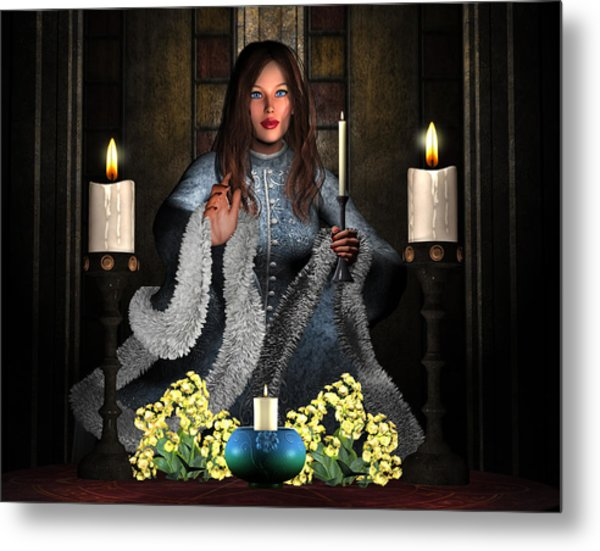 Girl Holding Candle Metal Print