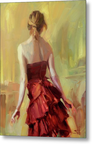 Girl In A Copper Dress I Metal Print