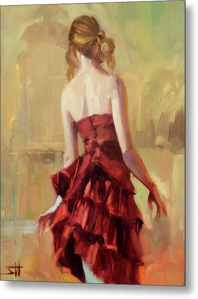 Girl In A Copper Dress II Metal Print