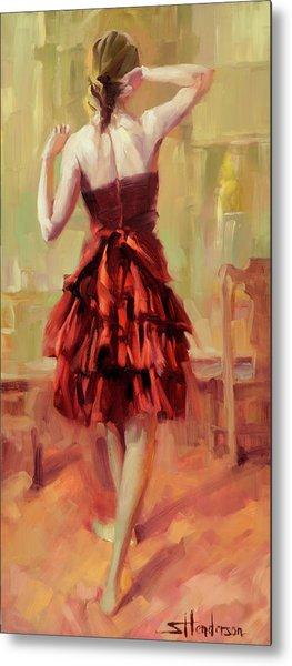 Girl In A Copper Dress IIi Metal Print