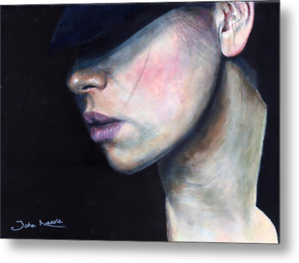 Girl In Black Hat Metal Print