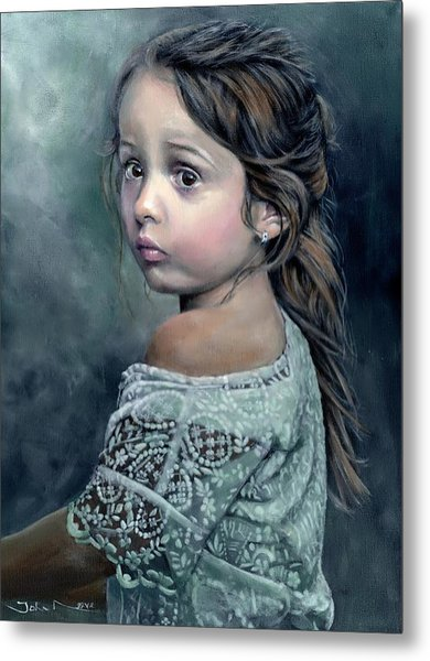 Girl In Lace Metal Print