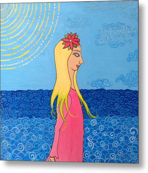 Girl In The Water Metal Print