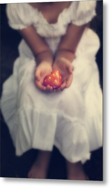 Girl Is Holding A Heart Metal Print