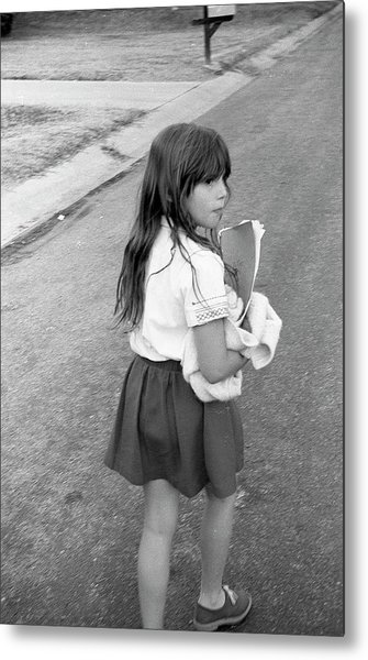 Girl Returns Home From School, 1971 Metal Print