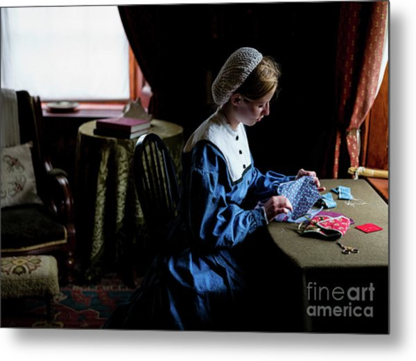 Girl Sewing Metal Print