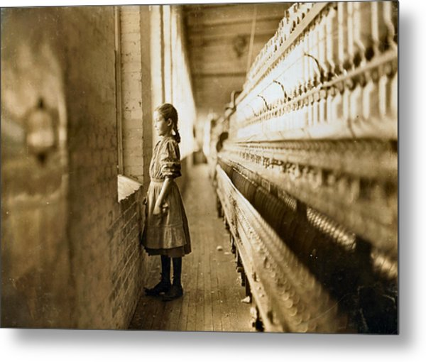 Girl Spinner 11 Years Old Rhodes Manufacturing Co Lincolnton 1908 Metal Print