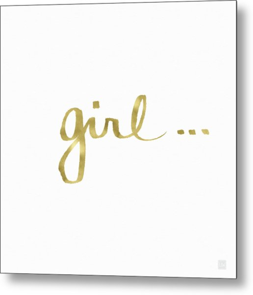 Girl Talk Gold- Art By Linda Woods Metal Print