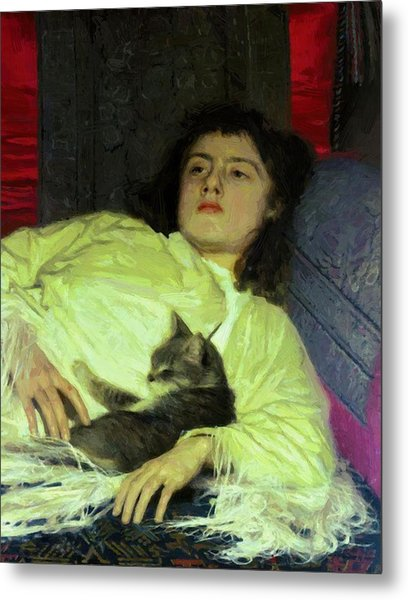Girl With A Cat 1882 Metal Print