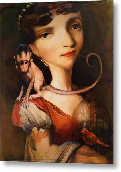 Girl With A Pet Monkey Metal Print