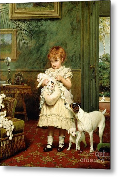 Girl With Dogs Metal Print