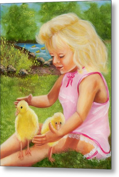 Girl With Ducks Metal Print by Joni McPherson