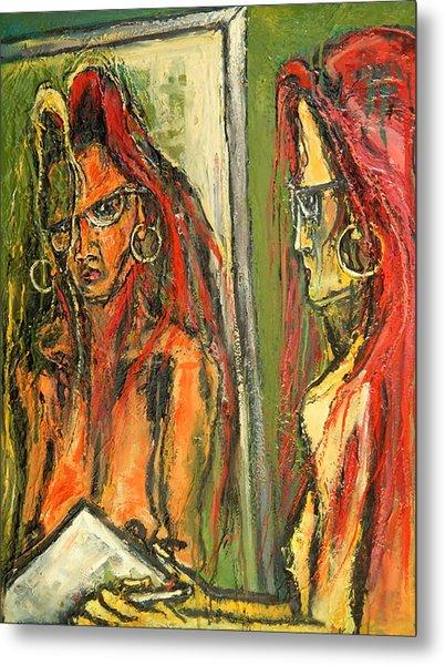 Girl With Eye Glasses--self-analysis Metal Print