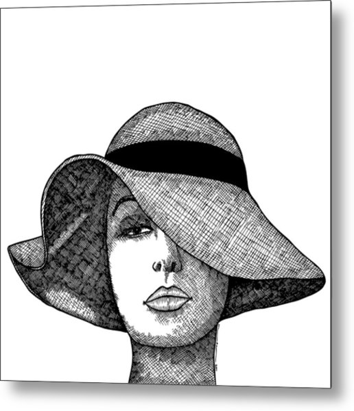 Girl With Fancy Hat Metal Print by Karl Addison