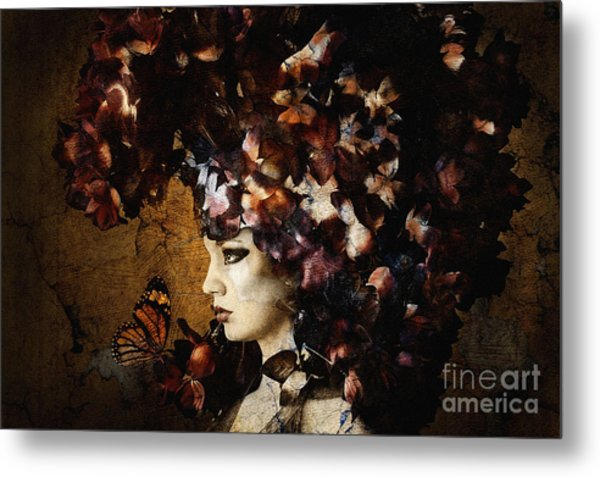 Girl With Flower Hat Metal Print