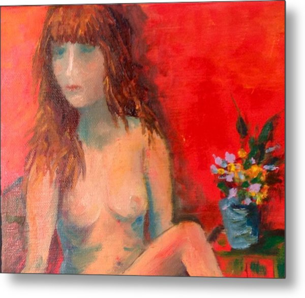 Girl With Flowers Metal Print
